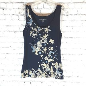 Eddie Bauer Ribbed Tank Top, Blue Floral, Small